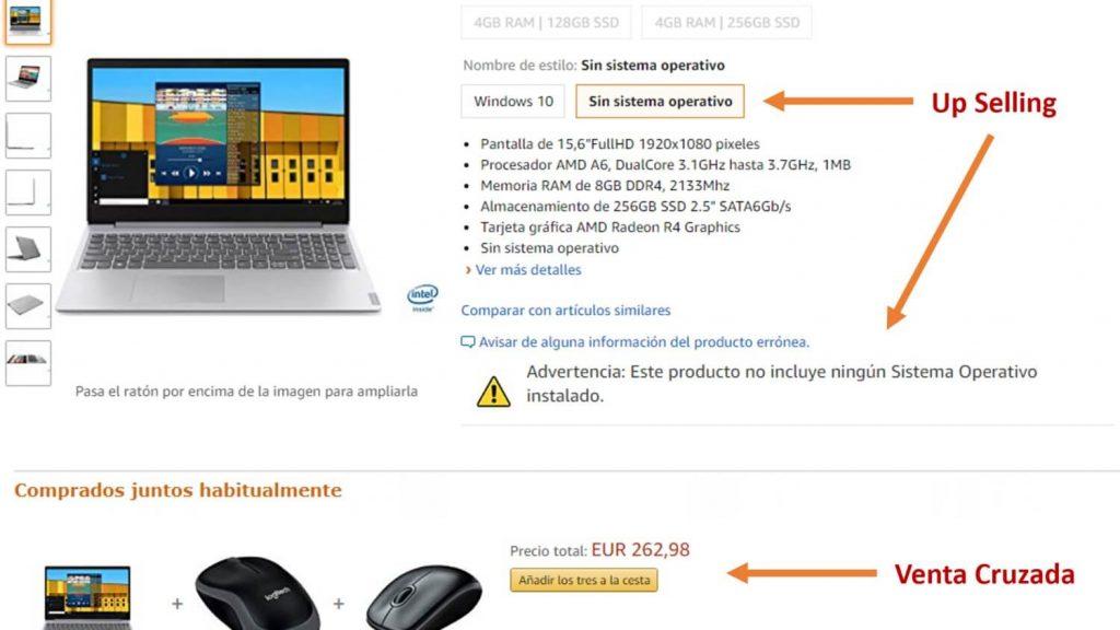 ejemplo de venta cruzada en Amazon. cómo hace amazon cross selling. diferencias entre venta cruzada y upselling